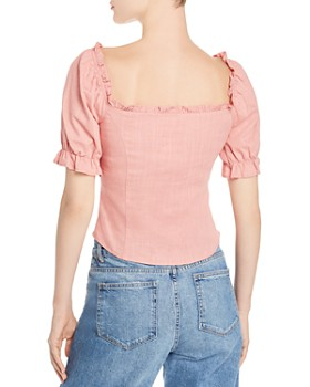 40a8bcda5e422 ... Re Named - Pam Ruffled Lace-Up Blouse