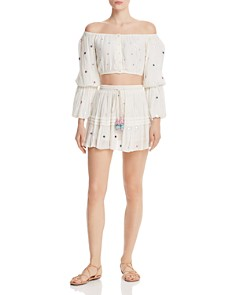 Rococo Sand - Embellished Plissé Cropped Top & Mini Skirt