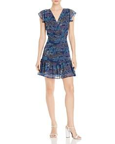 AQUA - Printed Flutter-Sleeve Dress - 100% Exclusive