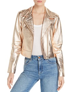 AQUA - Metallic Leather Moto Jacket - 100% Exclusive