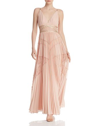 BCBGMAXAZRIA - Pleated Lace Panel Gown