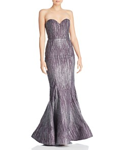 Bariano - Flower Bomb Strapless Glitter Gown