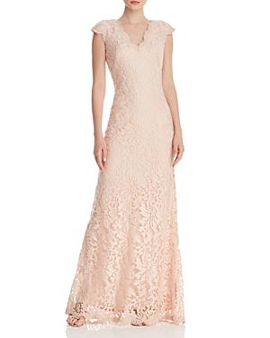 Vintage Dresses Australia- 20s, 30s, 40s, 50s, 60s, 70s Tadashi Shoji Cap Sleeve Lace Gown - 100 Exclusive AUD 326.05 AT vintagedancer.com
