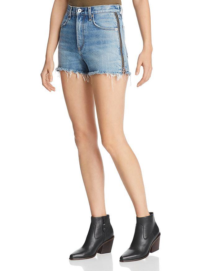 rag & bone - Maya Side-Zip Denim Cutoff Shorts in Medland