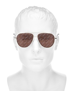 Balenciaga - Men's Mirrored Brow Bar Aviator Sunglasses, 58mm