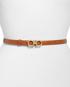 Salvatore Ferragamo - Gancini Slim Leather Belt