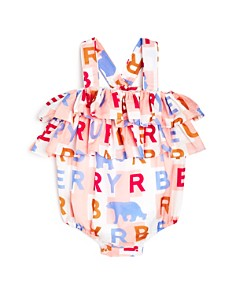 Burberry - Girls' Caryline Logo-Print Ruffle Romper - Baby