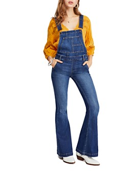Free People - Carly Flared Denim Overalls