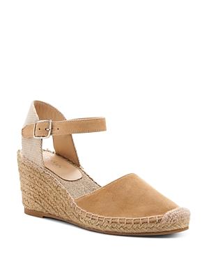 Botkier Sandals WOMEN'S ELIA SUEDE ANKLE STRAP ESPADRILLE WEDGE SANDALS