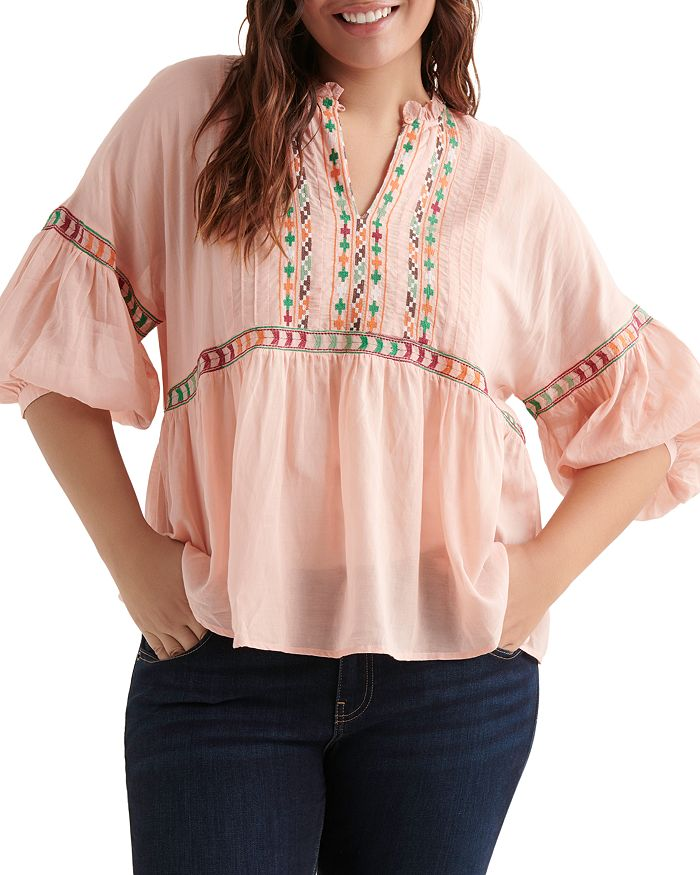 Lucky Brand Plus - Embroidered Peasant Top