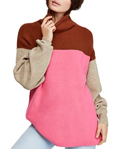 Free People - Color-Block Turtleneck Sweater