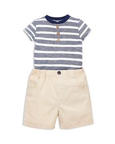 Little Me - Boys' Stripe Bodysuit & Khaki Shorts Set - Baby