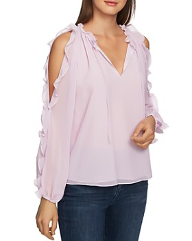 fde0b0f03c3918 STATE - Ruffled Cold-Shoulder Top ...