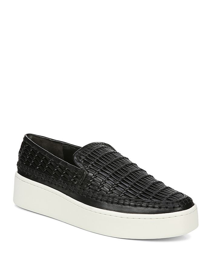 Vince - Women's Stafford Woven Leather Platform Slip-On Sneakers