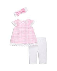 Little Me - Girls' Gingham Eyelet Tunic, Leggings & Headband Set - Baby