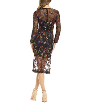 Dress the Population - Sophia Long Sleeve Embroidered Illusion Dress