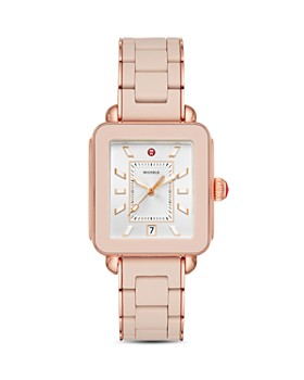 MICHELE - Deco Sport Rose Gold-Tone Desert Rose-Wrapped Silicone Watch, 34mm x 36mm