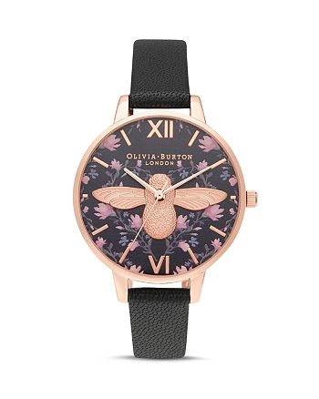Olivia Burton - Meant to Bee Black Dial Watch, 34mm