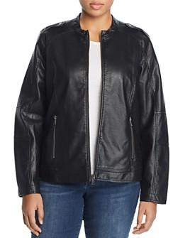 JUNAROSE Plus - Damas Faux-Leather Biker Jacket