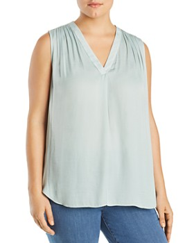 VINCE CAMUTO Plus - Shirred Rumple Satin Tank