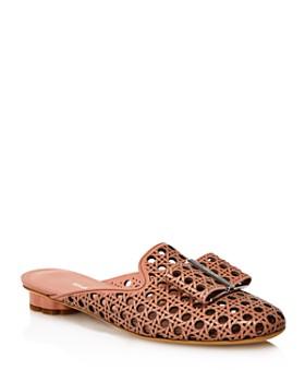 Salvatore Ferragamo - Women's Sciacca Woven Leather Flower Heel Mules