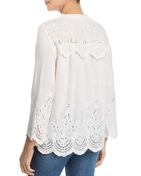 Single Thread - Eyelet Lace-Up Peasant Top