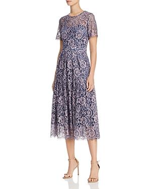 Eliza J Dresses SHORT SLEEVE FIT & FLARE LACE DRESS