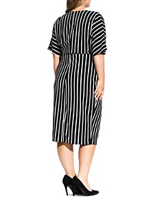 City Chic Plus - Striped V-Neck Dress
