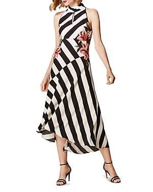 Karen Millen Dresses SLEEVELESS FLORAL-EMBROIDERED STRIPED MIDI DRESS