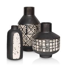 Mitchell Gold Bob Williams - Black Metallic & White Vase Collection