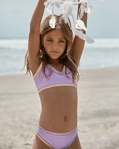 PilyQ - Girls' Sporty Rainbow Two-Piece Swimsuit - Little Kid, Big Kid