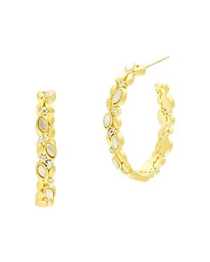 Freida Rothman Fleur Bloom Embellished Hoop Earrings in 14K Gold-Plated & Rhodium-Plated Sterling Silver