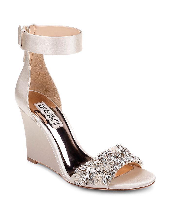 Badgley Mischka - Women's Lauren Crystal-Embellished Wedge Heel Sandals