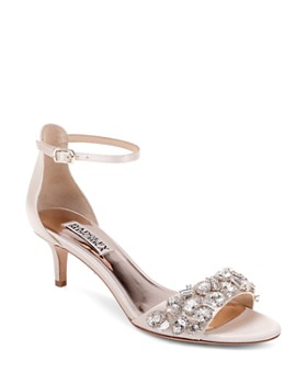90487f52149277 Badgley Mischka - Women s Lara Embellished Kitten Heel Sandals ...