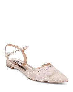 Badgley Mischka - Women's Lennon Crystal & Faux Pearl Pointed Toe Flats