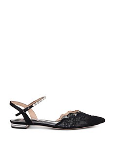 Badgley Mischka - Women's Lennon Crystal & Faux Pearl Pointed Toe Flats