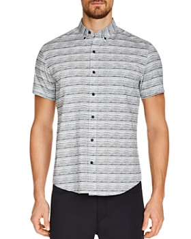 WRK - Short-Sleeve Textured Stripe-Print Slim Fit Button-Down Shirt
