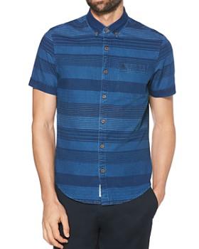 Original Penguin - Short-Sleeve Striped Slim Fit Button-Down Shirt