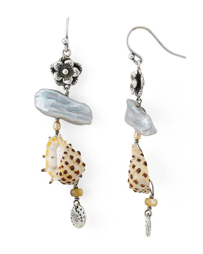 Chan Luu - Shell Drop Earrings in Oxidized Sterling Silver