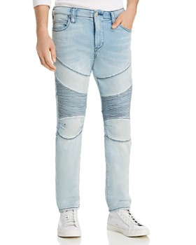 True Religion - Rocco Classic Moto Slim Fit Jeans in Silver Moon