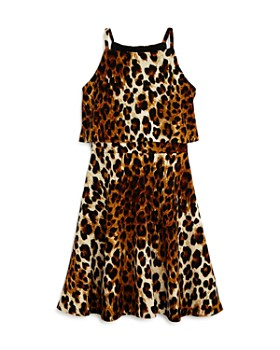 AQUA - Girls' Popover Leopard Print Skater Dress, Big Kid - 100% Exclusive
