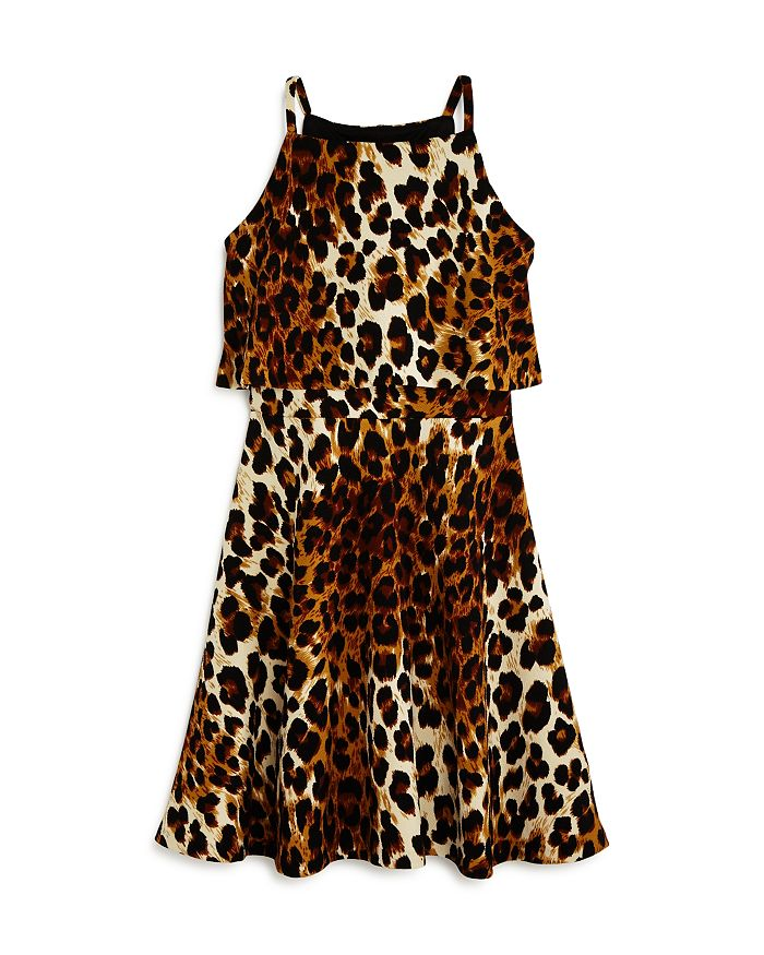 AQUA - Girls' Popover Leopard Print Skater Dress, Big Kid - 100% Exclusive