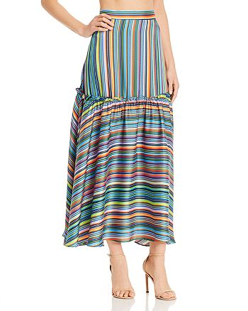 3f4fd4dcc87 MILLY - Rainbow-Striped Maxi Skirt