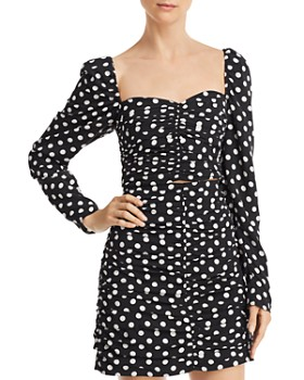 The East Order - Amy Ruched Polka Dot Cropped Top