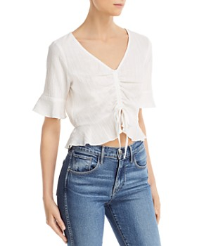 Sadie & Sage - Ruched Drawstring Cropped Top