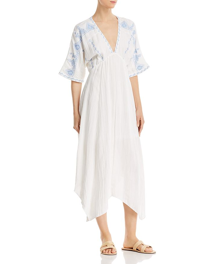 En Créme - Embroidered Dolman-Sleeve Maxi Dress