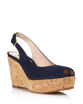 Stuart Weitzman - Women's Jean Peep Toe Platform Wedge Sandals