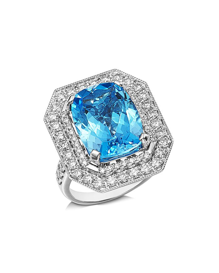 Bloomingdale's - Blue Topaz & Diamond Statement Ring in 14K White Gold - 100% Exclusive
