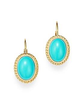 Bloomingdale's - Turquoise Bezel Set Earrings in 14K Yellow Gold - 100% Exclusive