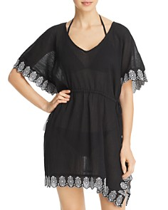 Echo - Embroidered Side-Tie Caftan Swim Cover-Up